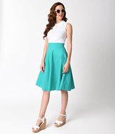 Unique Vintage 1950s Style Aqua & White Polka Dot High Waist Swing Skirt