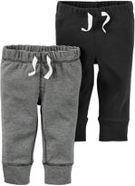 Carter's 2-Pack Babysoft Ribbed Cotton Faux-Drawstring Pant in Dark Grey/Stripe