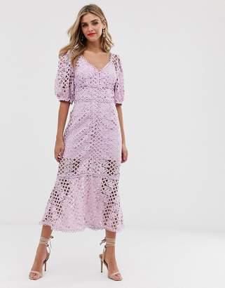 Keepsake Lovable Lace Midi Dress-Purple