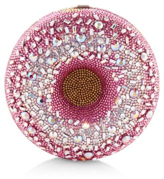 Judith Leiber Couture Strawberry Sprinkles Donut Crystal Clutch