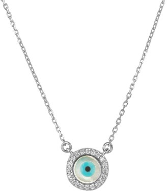 Mother of Pearl Evil Eye Necklace Cz Silver