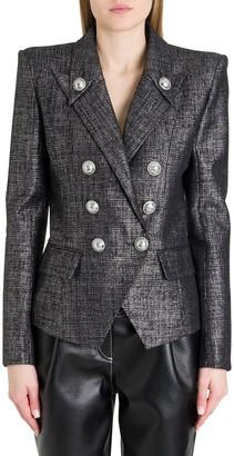 Balmain Doubole-breasted Blazer In Lame Tweed