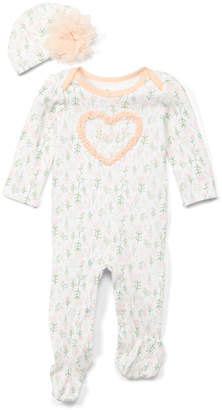 Baby Starters Girls' Beanies White - White Floral 'Love' Footie & Beanie - Infant