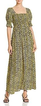 Notes du Nord Olivia Leopard Print Smocked Maxi Dress