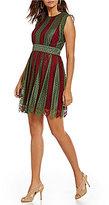 M.S.S.P. Cap Sleeve Round Neck Striped Lace Dress