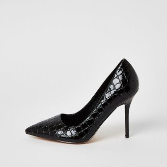 River Island Black patent embossed wide fit court shoes