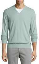 Loro Piana Cashmere V-Neck Sweater, Granite Green