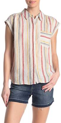 Vince Camuto Canyon Stripe Collared Linen Blouse