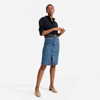 Everlane The Denim Button-Front Pencil Skirt