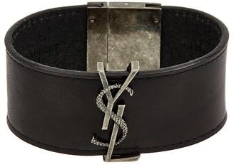 Saint Laurent Monogram Plaque Leather Bracelet