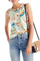 J.Crew Women's Ruffle Trim Ornate Floral Silk Top