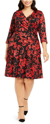 Robbie Bee Plus Size Tiered Surplice Dress