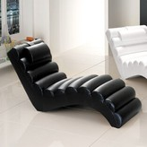 Dariell Faux Leather Chaise Lounge Orren Ellis Upholstery: Black