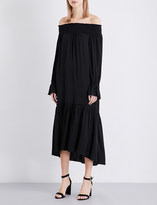 Theory Belinsie off-the-shoulder silk-satin dress