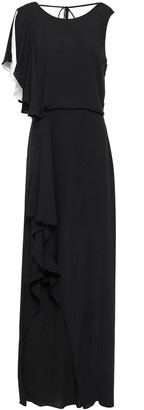 Halston Draped Two-tone Crepe De Chine Gown