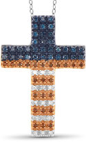FINE JEWELRY 1/4 CT. T.W. White and Color-Enhanced Blue and Red Diamond Flag Cross Pendant