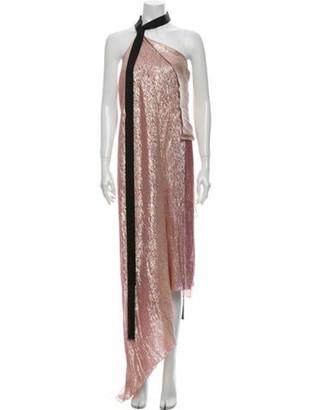 Roland Mouret Silk Long Dress Pink