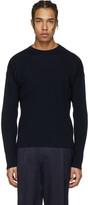 Ami Alexandre Mattiussi Navy Ribbed Sweater