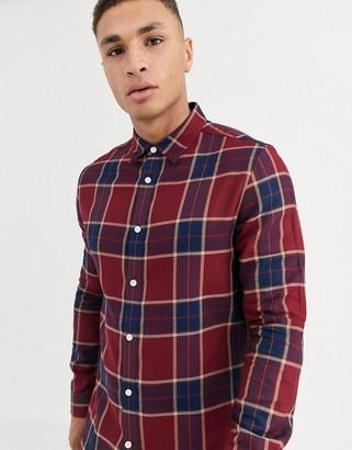Burton Menswear shirt in burgundy check-Red