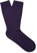 Pantherella - Waddington Ribbed Mélange Cashmere-blend Socks