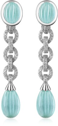 Carved Gemstone 18K Gold and Diamond Drop Earrings