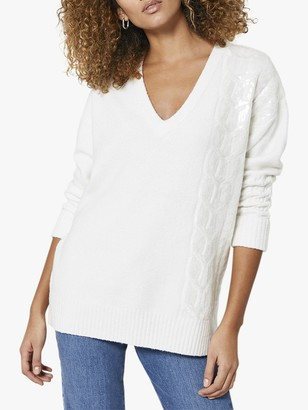 Mint Velvet Cable Knit Sequin Detail Jumper, Off-White