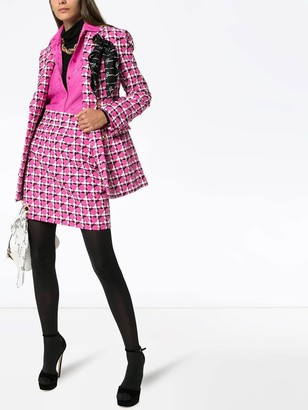 Versace Scarf Detail Houndstooth Skirt