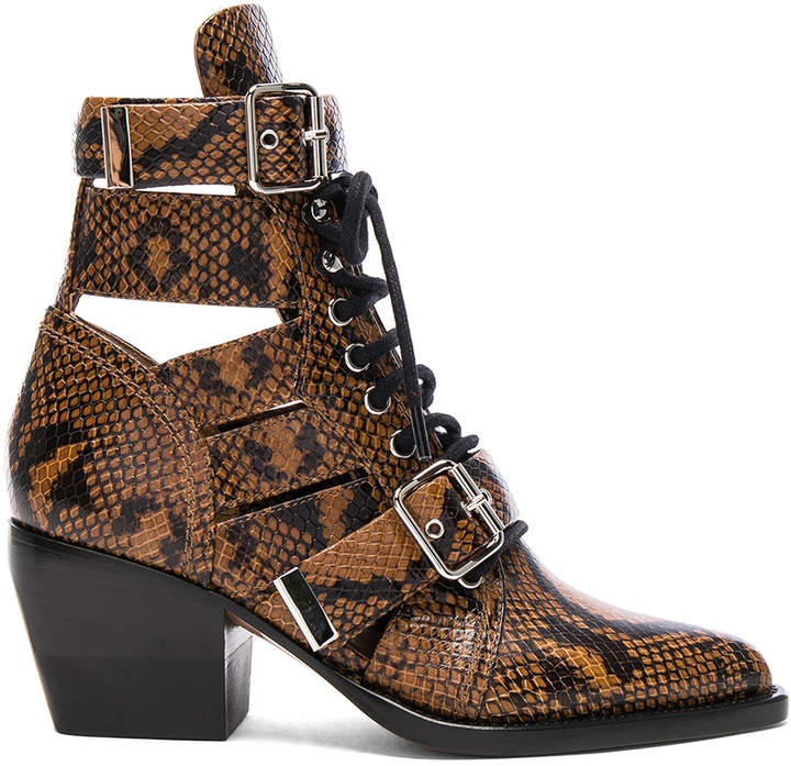 Chloé Rylee Python Print Leather Lace Up Buckle Boots in Light Tan | FWRD