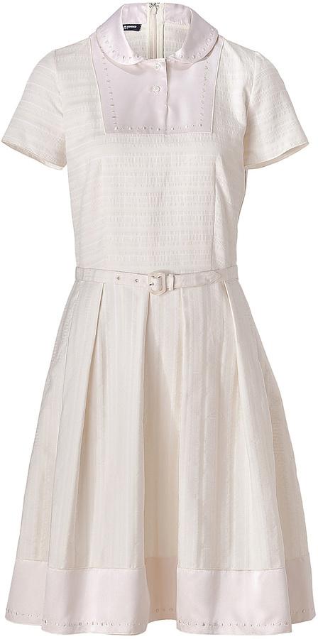 Jil Sander Navy Cream Belted Textured Cotton Dress with Satin Trim