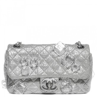 Chanel Timeless/Classique Silver Leather Handbags