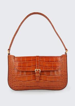BY FAR Miranda Croc-Embossed Shoulder Bag