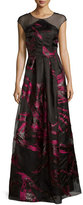 Kay Unger New York Cap-Sleeve Pleated Floral Metallic Gown, Black/Pink