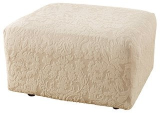 """Sure Fit Stretch Jacquard Damask Ottoman Slipcover - fits up to 30"""""""