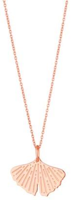ginette_ny Gingko 18K Rose Gold Mini Pendant Necklace