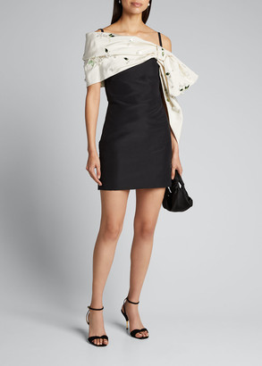 Carolina Herrera Embroidered Cold-Shoulder Silk Mini Dress