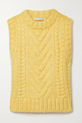 Cecilie Bahnsen Frida Cable-knit Silk Tank - Yellow