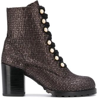Stuart Weitzman Ivey metallic tweed boots