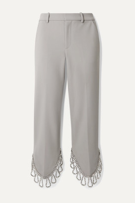 Area Cropped Crystal-embellished Woven Straight-leg Pants - Stone