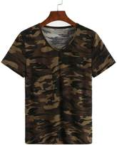 Baishitop Camouflage Printed Women Loose Short Sleeve Blouse Tops T-Shirts