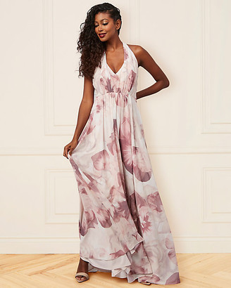 Le Château Abstract Print Chiffon V-Neck Gown