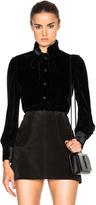 Saint Laurent Frill Bow Velvet Shirt