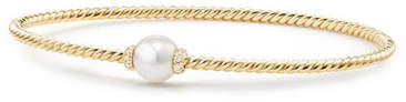 David Yurman 7mm Solari 18K Gold & Pearl Bracelet with Diamonds, Large