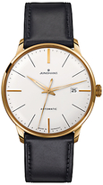 Junghans 027/7312.00 Meister Classics Self-winding Stainless Steel Leather Strap Watch, Black/white
