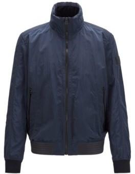 HUGO BOSS Slim Fit Jacket In Lightweight Fabric With Packable Hood - Dark Blue