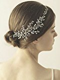 Bridalvenus Wedding Headband Rhinestones Vintage Bridal Hair Vine Hair Accessories for Bride and Bridesmaid (Silver)