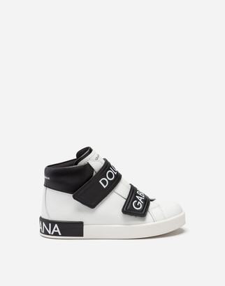 Dolce & Gabbana Portofino High-Top Sneakers In Logo Nappa Leather
