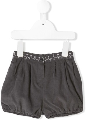 Knot Embroidered Corduroy Shorts