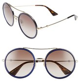 Gucci Women's 56Mm Round Sunglasses - Glitter Blue/ Brown