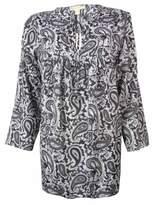 MICHAEL Michael Kors Women's Paisley 3/4 Sleeves Tunic Top (S, Slate Grey)