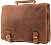 Visconti Tan Buckle Leather Briefcase
